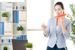 Text a day keeps the motivation alive, eating watermelon keep fr Stock Images