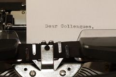 Text Dear Colleagues typed on old typewriter Royalty Free Stock Photo