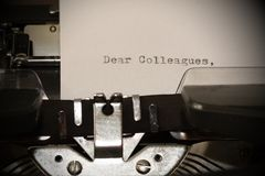 Text Dear Colleagues typed on old typewriter Royalty Free Stock Photography