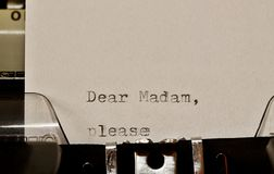 Text Dear madam typed on old typewriter Stock Photography