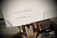 Text Dear madam typed on old typewriter Royalty Free Stock Photography