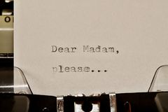 Text Dear madam typed on old typewriter Stock Photo