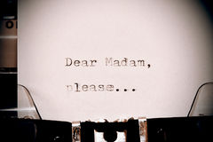 Text Dear madam typed on old typewriter Stock Image