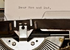 Text Dear Mom and Dad typed on old typewriter Stock Images