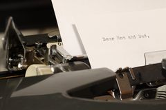 Text Dear Mom and Dad typed on old typewriter Royalty Free Stock Photo