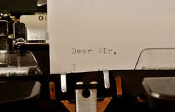Text Dear Sir typed on old typewriter Royalty Free Stock Images