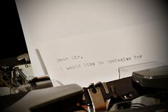 Text Dear Sir typed on old typewriter Royalty Free Stock Photos