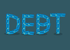 Text Debt Formed by Credit Cards Cartoon Vector Illustration. Text DEBT formed by credit cards vector illustration isolated on green plain background. Vector Stock Image