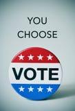 Text, den Sie für die US-Wahl wählen und deutlich werden Stockfoto
