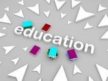 Text der Bildung 3d mit Büchern und Pfeil Stockfotografie