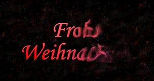 Text der frohen Weihnachten auf Deutsch Stockbild