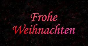 Text der frohen Weihnachten auf Deutsch Frohe Weihnachten gebildet vom Staub und von den Drehungen, um horizontal abzuwischen stock footage