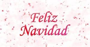 Text der frohen Weihnachten auf spanisch Feliz Navidad gebildet vom Staub und von den Drehungen, um horizontal abzuwischen stock video