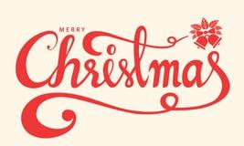 Text der frohen Weihnachten, Briefgestaltungs-Kartenschablone, Handwritin lizenzfreie stockfotos