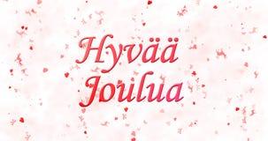 Text der frohen Weihnachten in finnischem Hyvaa-joulua auf weißem backgrou Lizenzfreie Stockfotografie