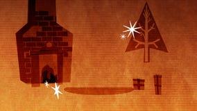 Text der frohen Weihnachten gegen Kamin, Baum und Geschenke stock footage