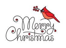 Text der frohen Weihnachten mit rotem Rotkehlchenvogel und -niederlassung Stockfotos