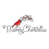 Text der frohen Weihnachten mit rotem Rotkehlchenvogel und -niederlassung Lizenzfreies Stockbild