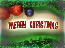 Text der frohen Weihnachten in der roten Farbe auf Weihnachtsbaumballspielwaren- und -girlandenhintergrund Lizenzfreie Stockbilder