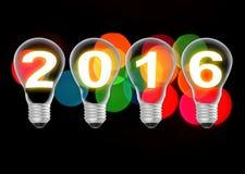 Text 2016 in der Glühlampe auf bokeh Hintergrund Lizenzfreies Stockfoto