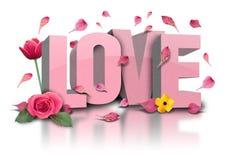Text der Liebe 3D mit Blumen auf Weiß stockfoto