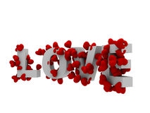 Text der Liebe 3d mit Herzen Stockfotos