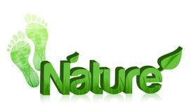 Text der Natur 3d und Füße Abbildungauslegung Stockbilder