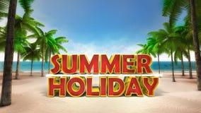 Text der Sommerferien 3D auf dem sandigen tropischen Strand Stockbild