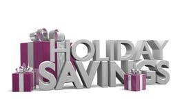 Text der Wörter Feiertags-Einsparungen unter ordentlich eingewickelten Geschenken Lizenzfreie Stockfotos