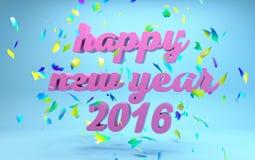 Text des guten Rutsch ins Neue Jahr 2016 stockbilder
