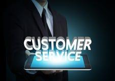 Text des Kundendiensts 3D auf Touch Screen Tablettentechnologie Stockfoto