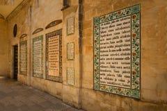 Text des Pater Noster-Gebet unterschiedlichen languageson im Chu Lizenzfreie Stockfotos