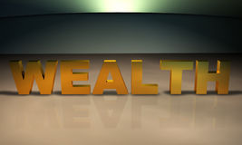Text des Reichtum-3D im Gold Stockfotos