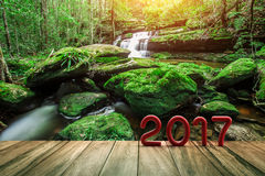 Text des Rot-2017 auf altem Holz auf grünem Natur-Wasser-Fall Stockfotografie