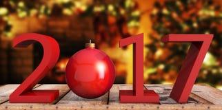 Text des Rotes 2017 und roter Weihnachtsball auf hölzernem Hintergrund, indor Stockfotos