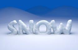 Text des Schnees 3D Lizenzfreie Stockbilder