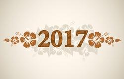 Text des Vektors 2017 mit tropischen Hibiscusblumen Stockfotografie