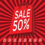 Text des Verkaufs 10 - 90 Prozent an mit roter Einkaufstasche Lizenzfreies Stockfoto