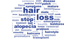 Text des Wortalopezie-Kahlheitshaarausfalls Stockfotos