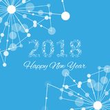 Text design Christmas and Happy new year 2018. Graphic background molecule and communication. Connected lines with dots Stock Photos