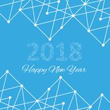 Text design Christmas and Happy new year 2018. Graphic background molecule and communication. Connected lines with dots Stock Images