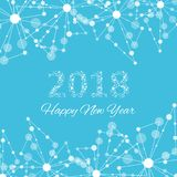 Text design Christmas and Happy new year 2018. Graphic background molecule and communication. Connected lines with dots Royalty Free Stock Photography