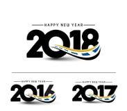 Text-Design des guten Rutsch ins Neue Jahr-2018 - 2017 - 2016 Stockbild