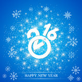 Text design Happy New Year 2016 on the blue background. With snowflakes. Vector illustration Royalty Free Stock Photography