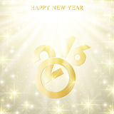 Text design Happy New Year 2016  with golden snowflakes. Vector illustration. Text design Happy New Year 2016 with golden snowflakes. Vector illustration Royalty Free Stock Photos