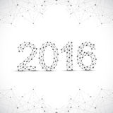 Text design Happy new year 2016. Graphic background molecule and communication. Connected lines with dots.  Stock Images