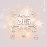 2015 text design for New Year and Merry Christmas celebration. Beautiful text of 2015 with floral design and hanging Xmas Balls on shiny stylish background for Stock Photo