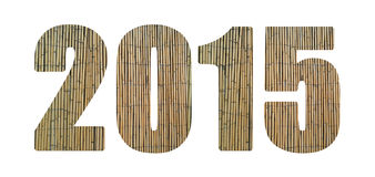 2015 Text Design using Bamboos. New Year 2015 isolated numbers. Nature Bamboos Royalty Free Stock Photos