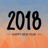 Text-Design-Vektorillustration des guten Rutsch ins Neue Jahr-2018 auf lowpoly Hintergrund Hand gezeichnete Beschriftung Stockbild