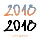Text-Design-Vektorillustration des guten Rutsch ins Neue Jahr-2018 Lowpoly-Zahl Hand gezeichnete Beschriftung Lizenzfreie Stockfotografie